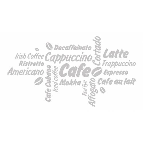 dekodino Wandtattoo »Kaffee Kaffeesorten mit Kaffeebohnen« (1 Stück), 04 - grey