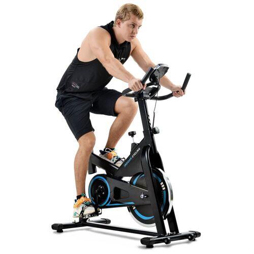 Merax Speedbike, Cardio-Training Heimtrainer mit LCD-Konsole und 13 kg Schwungrad, belastbar bis 130 kg, Schwarz-Blau