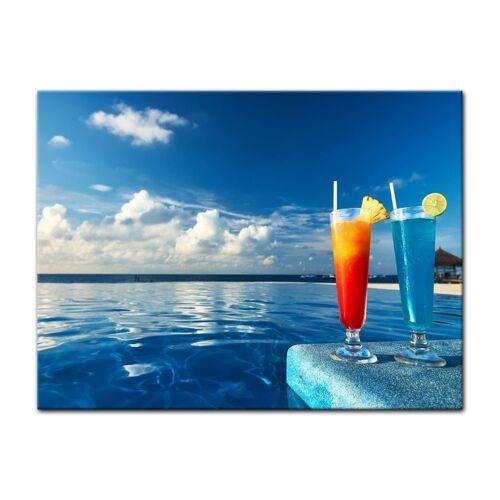 Bilderdepot24 Leinwandbild, Leinwandbild - Cocktail am Swimmingpool