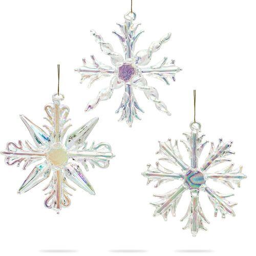 SIKORA Christbaumschmuck »BS131 Christbaumschmuck aus Glas Eiskristalle 3er Set D: 7cm«