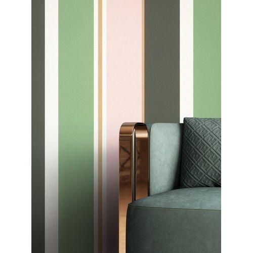 Newroom Vliestapete, Grün Tapete Modern Streifen - Streifentapete Mustertapete Rosa Gold Edel Linien Muster für Wohnzimmer Schlafzimmer Küche, rosa