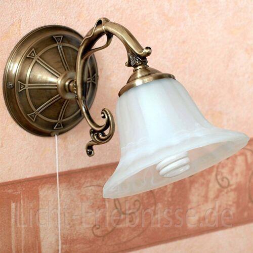 Licht-Erlebnisse Wandleuchte »ORCHIDEA Wandlampe Jugendstil Metall Bronze Alabasterlas Leselampe Lampe«