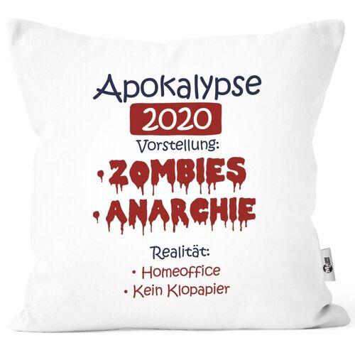 MoonWorks Dekokissen »Kissen-Bezug Apokalypse 2020 Zombies Home-Office Klopapier Satire Kissen-Hülle Deko-Kissen Baumwolle ®«