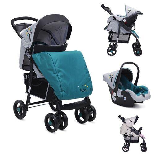 Moni Kombi-Kinderwagen »Kombikinderwagen Lea 2 in 1«, mit Babyschale, Vorderräder 360° schwenkbar