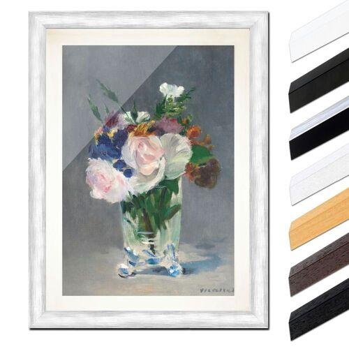 Bilderdepot24 Wandbild, Édouard Manet - Blumen in einer Kristallvase, Silber