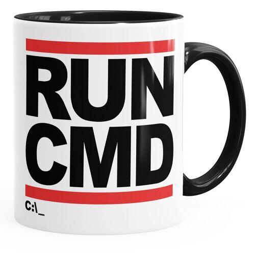MoonWorks Tasse »Kaffee-Tasse RUN CMD Nerd Geek Computer-Freak Tasse mit Innenfarbe ®«