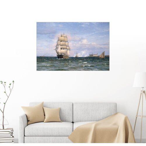 Posterlounge Wandbild, Eine dänische Barque vor dem Kronborg Slot