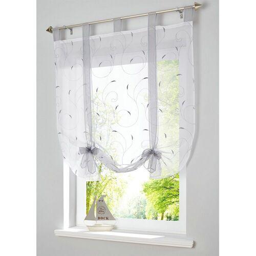 i@home Bändchenrollo »Bestickt Raffrollo Gardinen Vorhang Fenstergardinen Scheibengardinen«, , mit Schlaufen, mit Stickerei, Grau