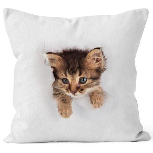 MoonWorks Dekokissen »Kissen-Bezug mit süßem Katzen-Aufdruck Katzen Baby schaut aus dem Kissen ®«