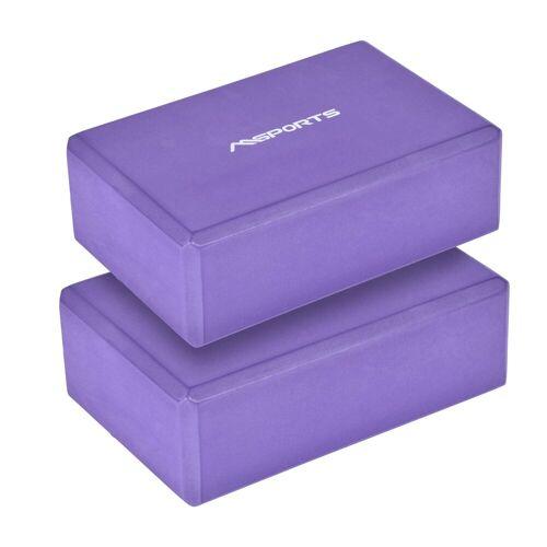 MSports® Yogablock »Yogablock in verschiedenen Farben - 2er Pack - Yogaklotz«, 2er Set Yogablock Lavendel