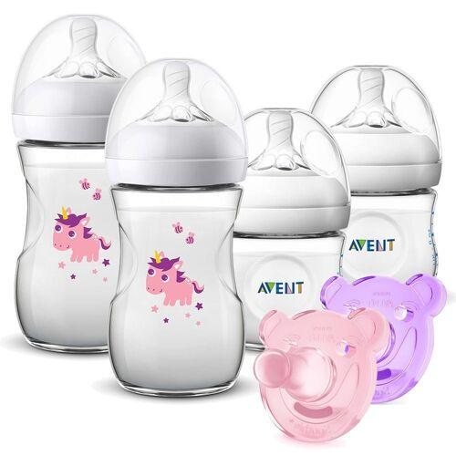 Philips AVENT Babyflasche »PP - Flaschen-Set - Natural«, 6-tlg. Starter-Set - 4x PP-Flasche + 2x Silikon-Schnuller Soothie