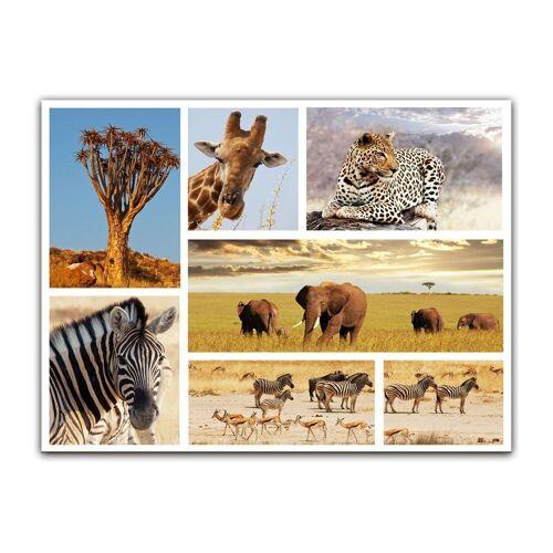 Bilderdepot24 Leinwandbild, Leinwandbild - Afrika Collage II