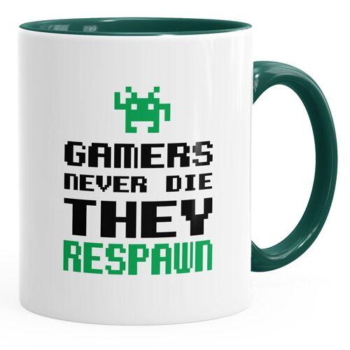 MoonWorks Tasse »Tasse Gamers never die they respawn Spruch Pixel Zocker 90er 80er Retro ®«, grün