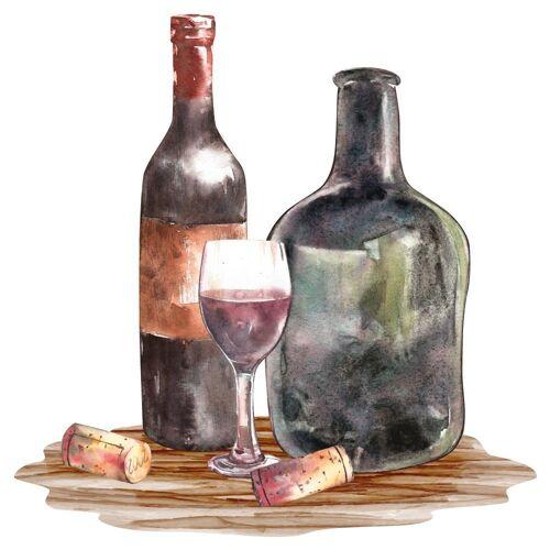 dekodino Wandtattoo »Aquarell Weinflasche mit Weinglas« (1 Stück)