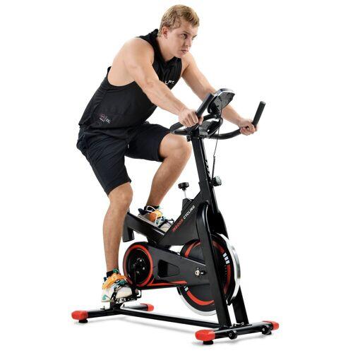 Merax Speedbike, Cardio-Training Heimtrainer mit LCD-Konsole und 13 kg Schwungrad, belastbar bis 130 kg, Schwarz-Rot