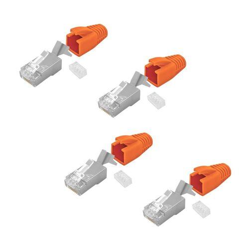 ARLI »Netzwerkstecker« Netzwerk-Adapter RJ45, 4x Netzwerk Stecker mit Zugentlastung, Einführhilfe und Tülle für Verlegekabel Cat7
