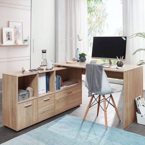 FINEBUY Schreibtisch »SuVa11911_1«, Schreibtischkombination 136 cm Weiß Schreibtisch mit Sideboard Winkelschreibtisch Home Office Tisch Büro Modern, Sonoma