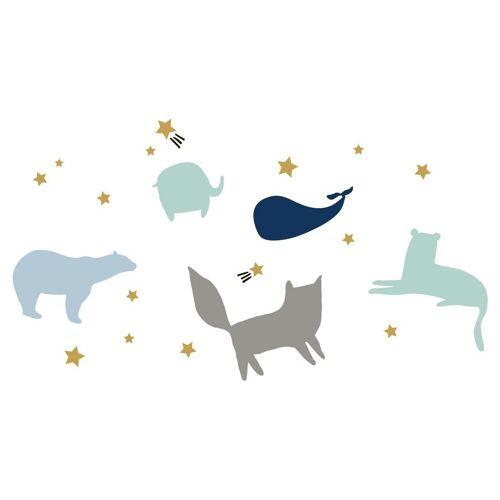 dekodino Wandtattoo »Pastell Tiere - Silhouetten Sternenhimmel« (1 Stück)