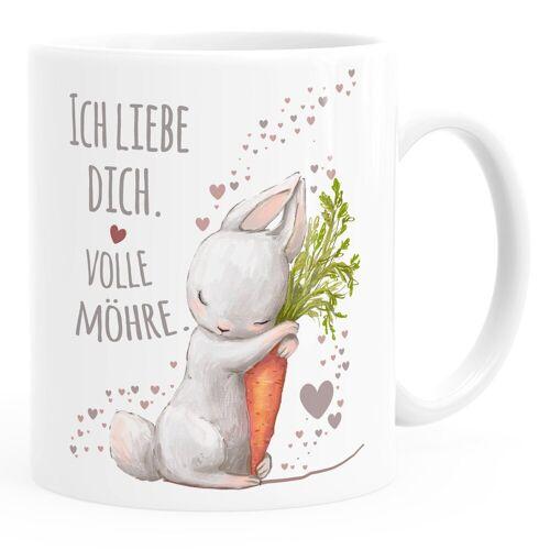 MoonWorks Tasse »Kaffee-Tasse Liebesgeschenk Ich liebe dich volle Möhre Hase mit Karotte Liebesbotschaft Liebesbeweis ®«