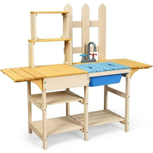 COSTWAY Spielküche »Matschküche Kinderküche Outdoor Küche« Tannenholz + Plastik, Holz