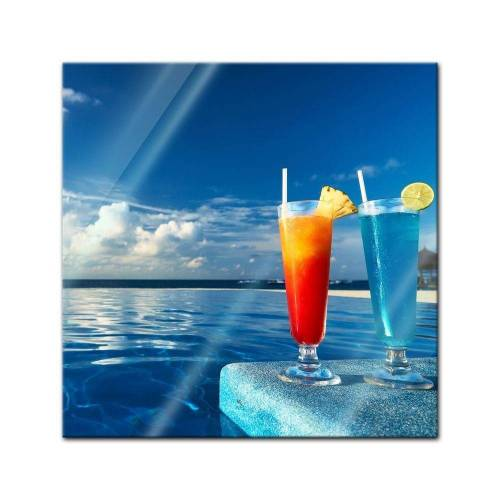 Bilderdepot24 Glasbild, Glasbild - Cocktail am Swimmingpool