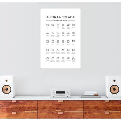 Posterlounge Wandbild, Wasch- & Pflegesymbole (Spanisch)