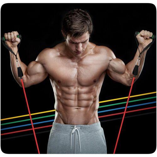 PRECORN 11 tlg. Trainingsband Set Resistance Band Muskelaufbau 100 % Latex Gymnastikband Theraband Fitnessbänder Fitness Krafttraining Widerstandsband Fitnessband Fitnessband