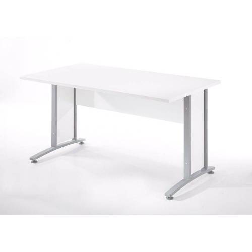 ebuy24 Schreibtisch »Prisme Schreibtisch B Weiss und silbergrauer Stahl«