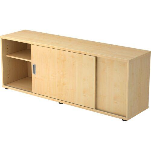 bümö Sideboard »OM-1758S«, Lowboard mit Schiebetür, Stauraum für Ordner, Deko & Bücher - Dekor: Ahorn/Ahorn, Ahorn/Ahorn