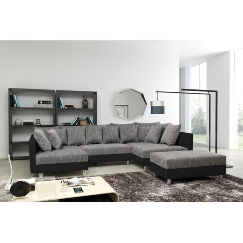 Küchen-Preisbombe Sofa »Sofa Couch Ecksofa Eckcouch in schwarz / hellgrau Eckcouch mit Hocker- Minsk XXL«, Sofa in U-Form mit Hocker