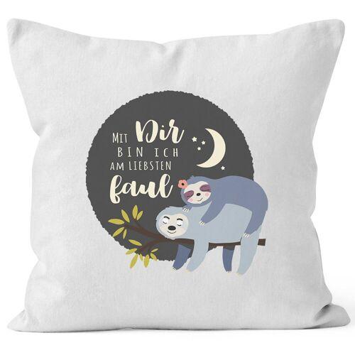 MoonWorks Dekokissen »Kissen-Bezug Faultier Mit Dir bin ich am liebsten faul Spruch Pärchen Geschenk Mond Kissen-Hülle Deko-Kissen Baumwolle ®«, weiß