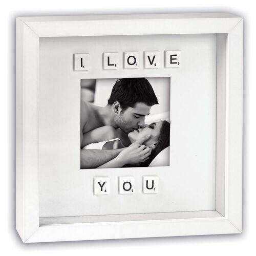 matches21 HOME & HOBBY Bilderrahmen »Bilderrahmen mit Scrabble Buchstaben I love you«, (1 Stück), Hochzeit
