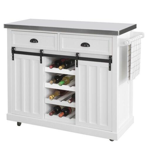 SoBuy Küchenwagen »FKW94«, Küchenschrank Kücheninsel mit Edelstahlplatte