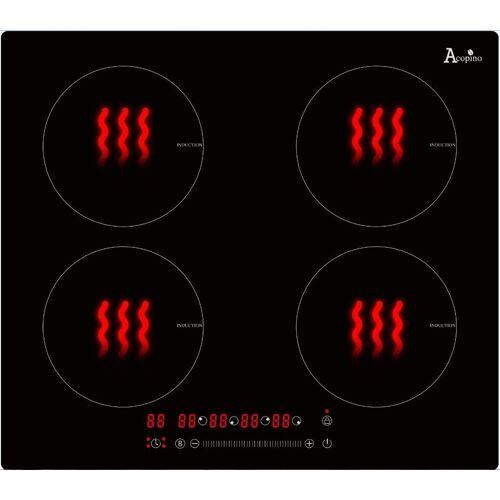 Acopino Induktions-Kochfeld Glaskeramik Kochfeld Induktion autark 60cm Einbaukochfeld KMI4 mit Sensor Touch Control, Autarkes Glaskeramik- Kochfeld mit Induktion, Breite 60 cm