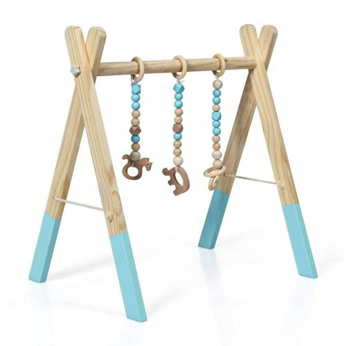 COSTWAY Baby Gym »Aktivitätszentrum mit 3 Kinderspielzeugen Holz«, mit 3 Kinderspielzeugen, Grün