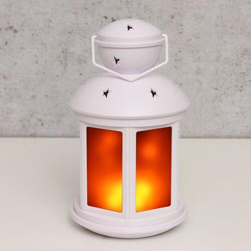 MARELIDA Laterne »LED Laterne weiß - Bewegter Flammeneffekt - Batteriebetrieb«