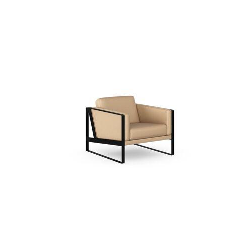 machalke® Loungesessel »frame«, Ledersessel mit Kufe in Schwarz, taupe HUNTER