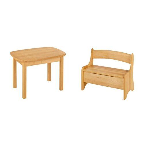 BioKinder - Das gesunde Kinderzimmer Kindersitzgruppe »Levin«, mit Tisch und Sitzbank, Sitzhöhe 30 cm, Erle