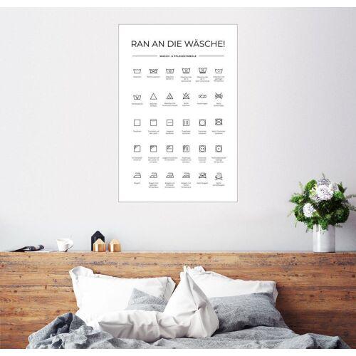 Posterlounge Wandbild, Wasch- & Pflegesymbole