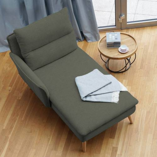 PLACE TO BE. Recamiere, Recamiere Ottomane Chaiselongue Sitzbank Polsterbank Tagesbett Daybed mit Armlehne links, Khaki