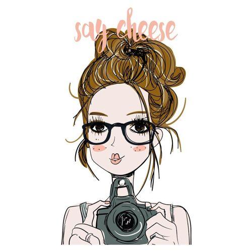 dekodino Wandtattoo »Mädchen mit Brille und Fotokamera« (1 Stück)