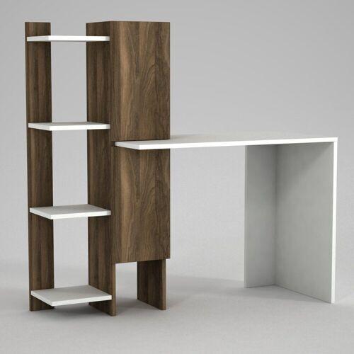 moebel17 Schreibtisch »Schreibtisch Gina Weiß Walnuss«