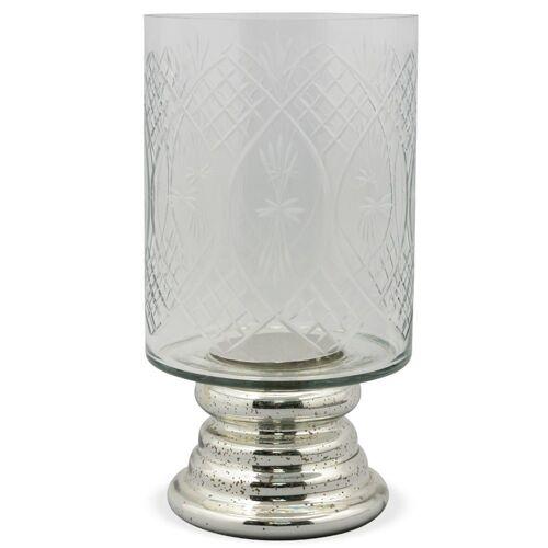matches21 HOME & HOBBY Kerzenständer »Kerzenglas Muster verspiegelt Kerzenhalter«