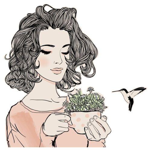 dekodino Wandtattoo »Frau mit Tasse und Kolibri« (1 Stück)