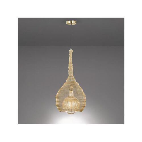 FISCHER & HONSEL LED Pendelleuchte, mit Lampen-Schirm aus Draht-Geflecht, Gitter-Lampen für über Esstisch-Lampen, Vintage, Esszimmer, Wohnzimmer, Galerie, Hängelampe Couch-Tisch, Gold