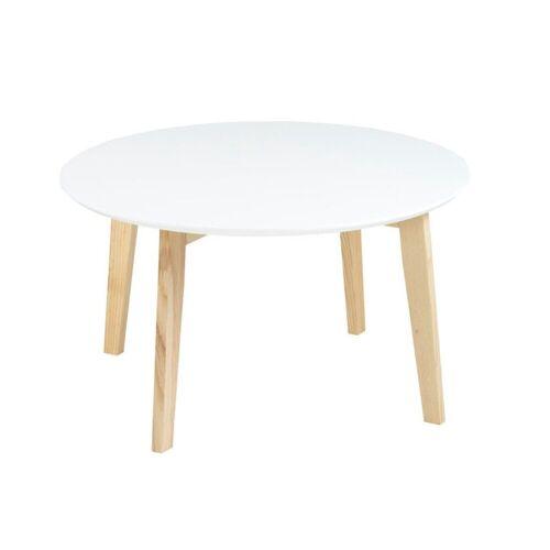ebuy24 Couchtisch »Mona Wohnzimmertisch Ø80 cm mit weißer Holztischpl«