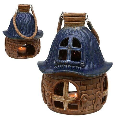 SIGRO Windlicht »Porzellan Windlicht Haus« (1 Stück), Blau