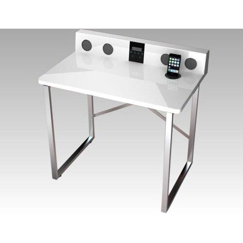 expendio Schreibtisch »Austin«, weiß Hochglanz 80x79x50 cm mit HiFi Ausstattung