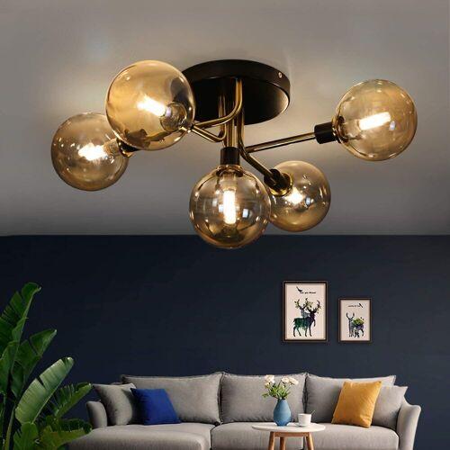 ZMH Deckenleuchte »Glas Kugel deckenlampe Wohnzimmerlampe Schlafzimmerleuchte Innenleuchte Kronleuchte«, Bernstein
