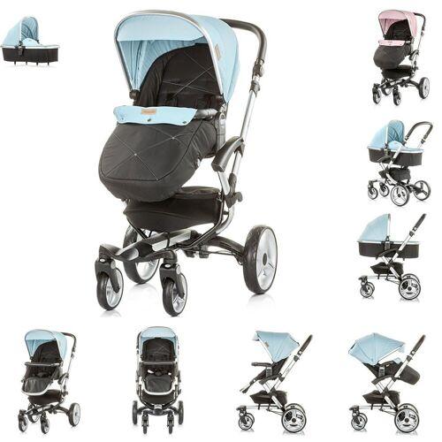 Chipolino Kombi-Kinderwagen »Kinderwagen Angel 2 in 1«, Babywanne, Sportsitz, Abdeckung, Ledergriff, blau